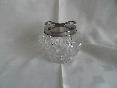 Glass Sugar Bowl with Scissor Action Tongs.