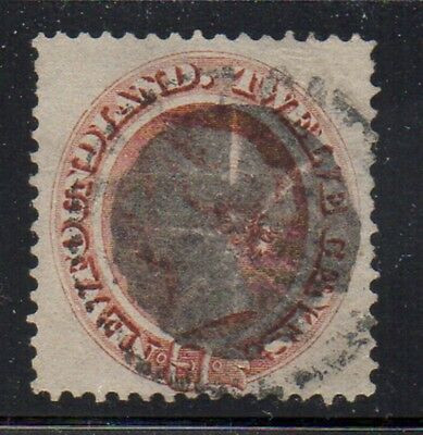 Newfoundland Sc 28a 12 c pale red brown on yellow paper Victoria stamp used