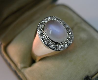 Victorian Art Deco Platinum 14 K Gold Blue Moonstone Old Mine Cut Diamond Ring