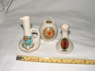 3 Crested Ware China Decorative Ornaments including Arcadian