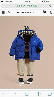 Baby Boys Blue Burberry Coat