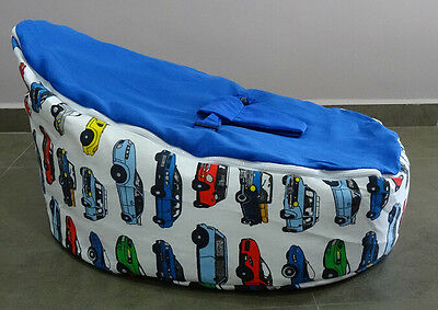 Baby Bean Bag - Unfilled With 2 Removable Covers & Harness - Blue - Cars - Boys