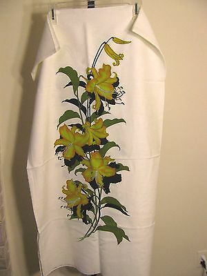 Vintage Alfred Shaheen Floral  Hand Printed Signed Fabric 50 X 45