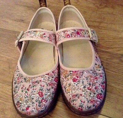 Vintage 90's Style Dr Martens Pink Floral Canvas Mary Jane Shoes 6