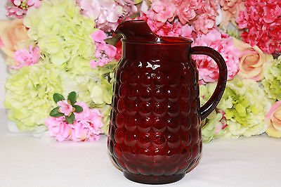 """Gorgeous, Ruby, Anchor Hocking, """"Bubble"""" 64 oz. Pitcher"""