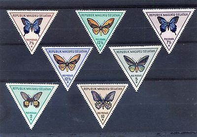 MALUKU SELATAN - BUTTERFLY - Set of 7 Triangles Stamps 1951