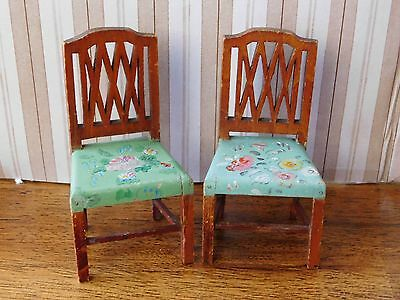 TynieToy Tynie Toy Antique Wooden 2 FLORAL PAINTED CHAIRS Miniature Dollhouse