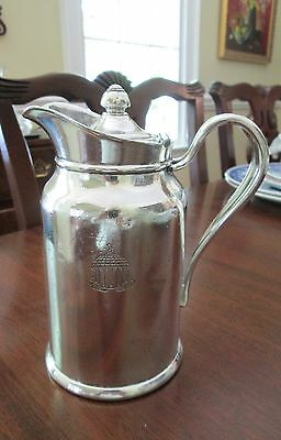 Hotel Silver Plate Greenbrier Coffee Pot Insulated Side-Crested Pitcher c1947