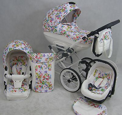 Baby Pram Retro - Pushchair Buggy Stroller Car Seat Modern Travel System 3in1