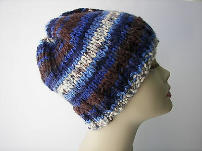 Hand Knit CHUNKY SOFT Beanie Hat in Blue Brown 100% Acrylic Unisex knit hat