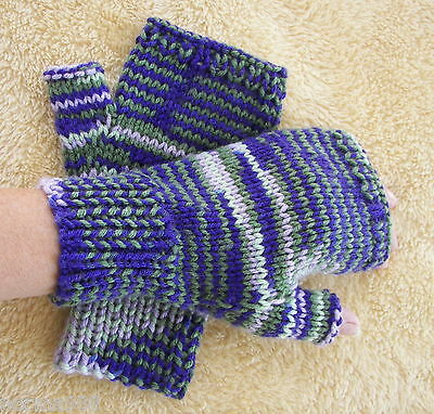Hand Knit Fingerless Seamless SOFT ACRYLIC Gloves in LILAC multi / Hand Knit USA