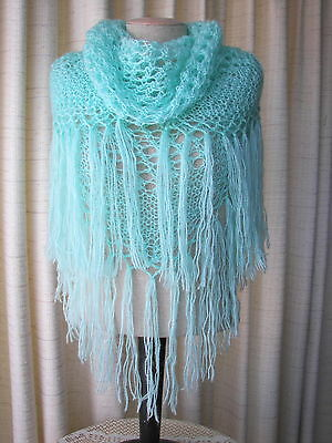 Hand Knit Lovely Mohair Shawl Scarf in Aquamarine See Breeze / Bridal Shawl