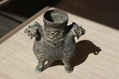 Very Old Antique Two Headed Brass Or Bronze Horse