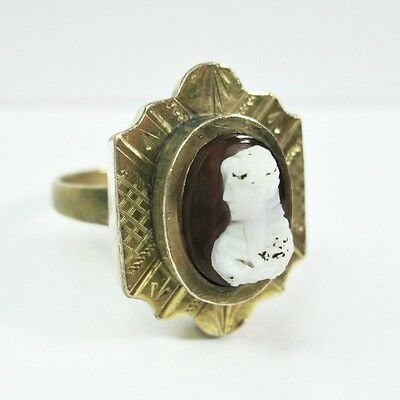 Antique Victorian Cameo Ring Hardstone Sardonyx - Gold Filled & Brass - SZ 6