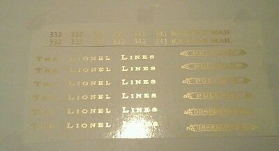 Lionel Standard Scale 332-339-341 Gold Metallic Waterslide Decals Pass.set Look!