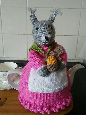 Handknitted Mrs squirrel tea cosy