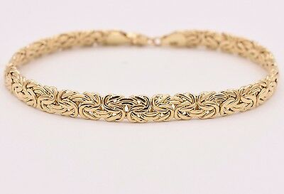 6mm All Shiny Classic Byzantine Bracelet Lobster Lock Real 10K Yellow Gold