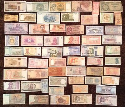 Lot Of 56 X Banknotes. Old And New Notes. All Different.