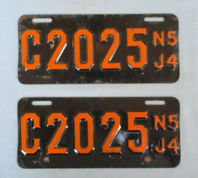 New Jersey 1954 Motorcycle License Plates, Very Good Condition