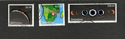 2001 Zimbabwe SC #882-84 SOLAR ECLIPSE used stamps