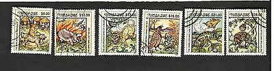 2001 Zimbabwe SC #885-90 HIPPO, RABBIT, LION, fOWL, TORTOISSE used stamps