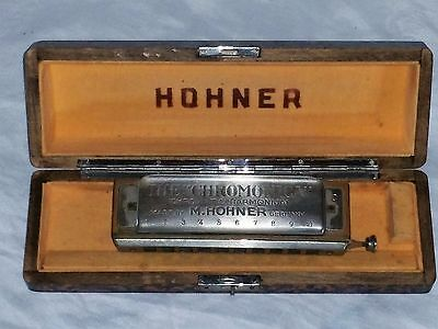"""Vintage M. Hohner CHROMONICA Chromatic Harmonica  """"C"""" with Brown Wooden Case"""