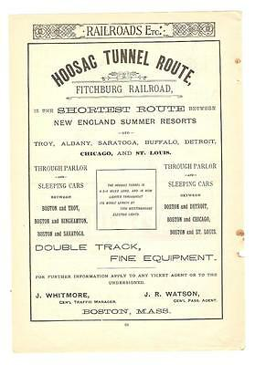 Antique Original 1889 FULL PAGE Print Ad / Hoosac Tunnel Route - Fitchburg RR