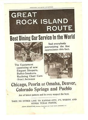 Antique Original 1899 FULL PAGE Print Ad - TRAIN - The Great Rock Island Route