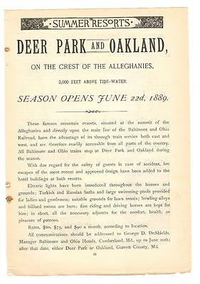 Antique Original 1889 FULL PAGE Print Ad - Deer Park & Oakland Mountain Resorts