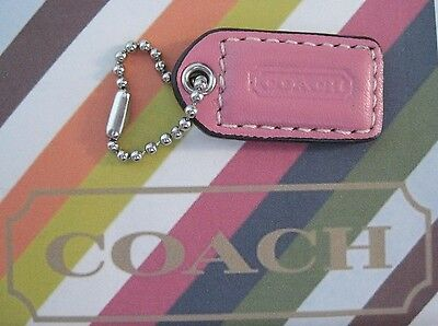 Coach Pink Leather Silver Tone Chain Charm Tag FOB Hangtag For Purse Bag