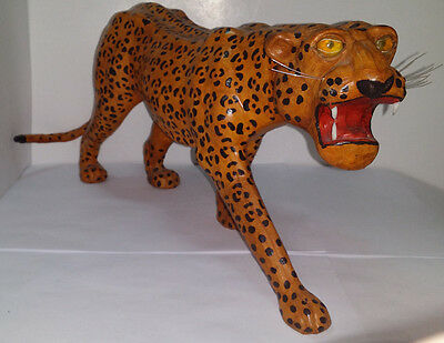 "Vintage Handmade Leather Leopard Figurine Statue Sculpture 16"" Long x 7.25"" Tall"