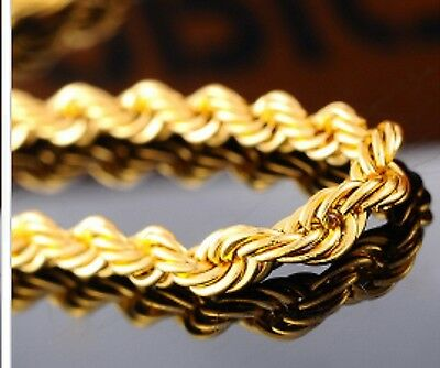 18K Yellow Gold Plated 3mm Twisted Rope chain necklace pendant 16- 24 Inches T3G