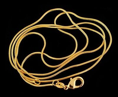 18k Gold Plated 18KGP stamped 1mm snake chain necklace for pendant 16-30 Inches
