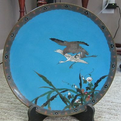 Japanese Blue Cloisonne Plate With Crane And Falcon 9 And 1/2 Inches