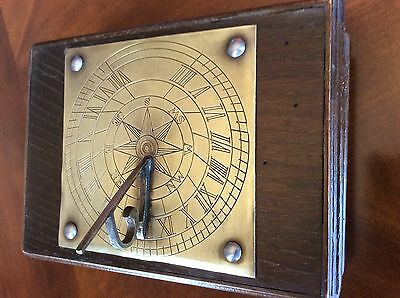 Vintage Wooden Italian Box with Brass Sun Dial in set into lid.
