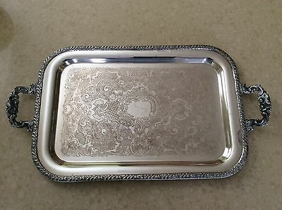 Large Silver Plated Decorative Tray, Henley, Tudor Plate, Oneida Community