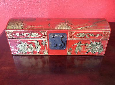 Vintage Chinese Leather Box Hand Painted