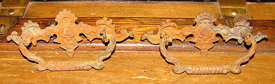 2 Antique Ornate Solid Brass Drawer Pulls