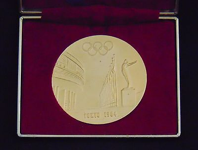 New 1964 Tokyo Olympic Gold Plated Copper Medal with Certificate Torch Relay