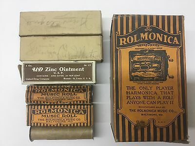 Antique 1920's bakelite Rolmonica Harmonica in box + 6 Music Rolls in , USA