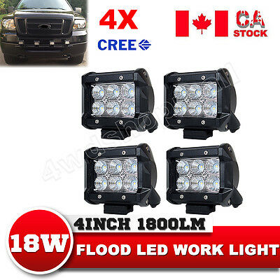 4X4Inch 18W Flood CREE LED Work Light Bar Offroad 4WD ATV Driving Lamp