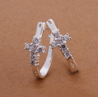 Womens 925 Sterling Silver Elegant U-Shaped CZ Crystal Cross Hoop Earrings #E35
