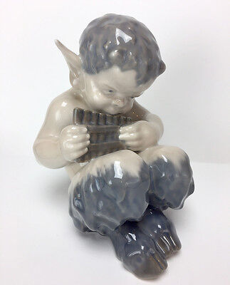 FAUN (Satyr, Pan) PLAYING FLUTE Royal Copenhagen Figurine 1736 Thomsen FLAWLESS!