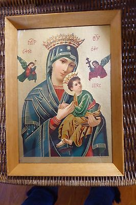 Vintage  Framed Religious Picture Our Lady Of Perpetual Help Mary Jesus