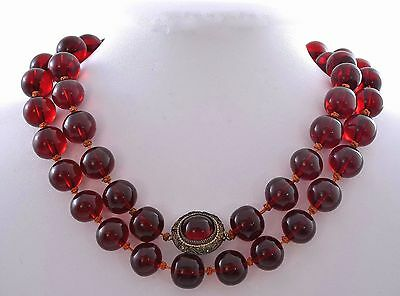 Chinese Cherry Amber Bakelite Carved Carving Bead Necklace Silver Pearl 117G