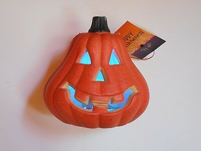 """Halloween LED Changes Color Battery Operated Light up Plastic Pumpkin 8.25"""" New"""