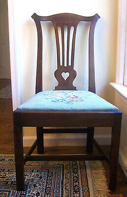 Chippendale Rare Walnut Desk Chair With Carved Folk Art Heart - 1800's