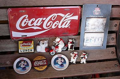 Lot of 12 COCA COLA ITEMS~ 10 Refrigerator Magnets, Polar Bear Keychain License