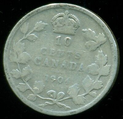 1904 Canada King Edward VII, Sterling Silver Ten Cent