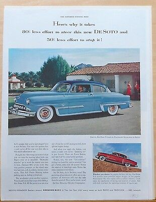 Vintage 1953 magazine ad for DeSoto - Firedome & Powermater Six - Less Effort